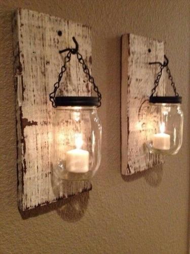 Aplica de perete cu placa de lemn si abajur de borcan...rog pret