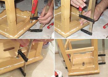 Folosim menghina pentru a tine scaunul de bucatarie strans