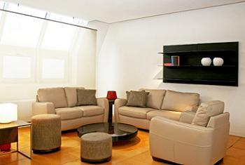 Set de canapele fixe si fotoliu bej