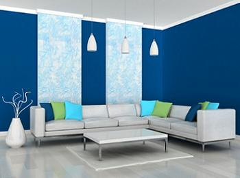 Sufragerie in alb si albastru