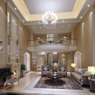 model de living mare cu tavan inalt, cu scara de interior in spate