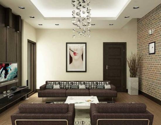 tavan cu scafe si spoturi intr-un living pe nuante naturale