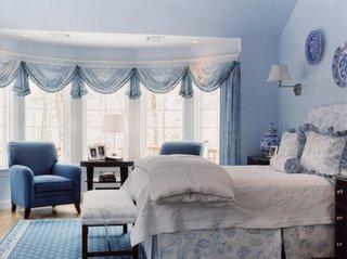 Dormitor albastru in stil mediteranean