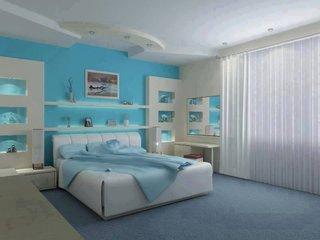 Dormitor cu design alb si bleu