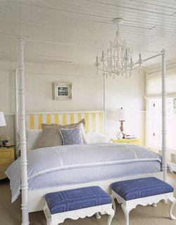 Dormitor cu tavan placat cu lambriu alb si mobilier cu tapiterie bleu