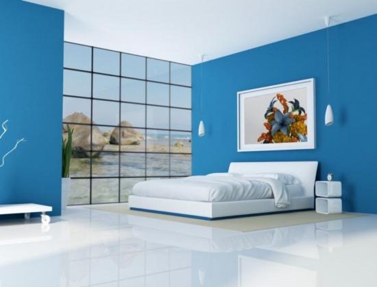 Dormitor in stil minimalist cu mobila alba si pereti albastri