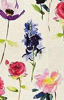 Perdea alba cu flori cu accente mov rosii roz si verzi