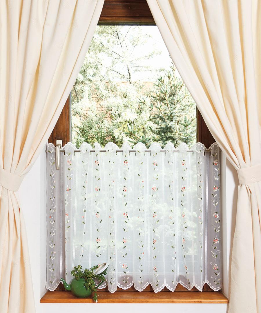 Perdea vitraj brodata cu cu motiv floral