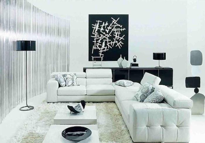 alb si negru intr-un desing de living room