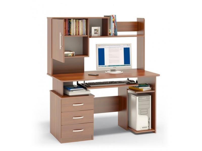 birou calculator cu spatii de depozitare pentru carti deasupra