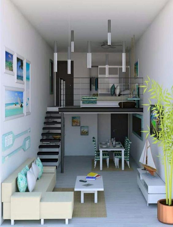 Living openspace cu dormitor in supanta cu scara metalica neagra