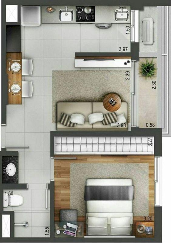 Plan amenajarae apartament cu doua acmere cu living cu bucatarie openspace