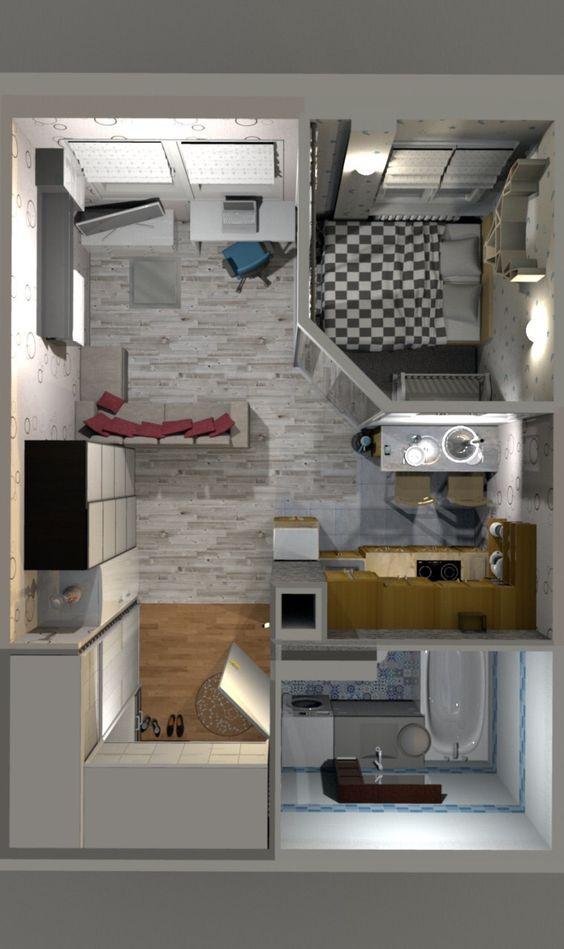 Plan amenajare aparatment 30 mp cu living cu bucatarie openspace si dormitor minimal