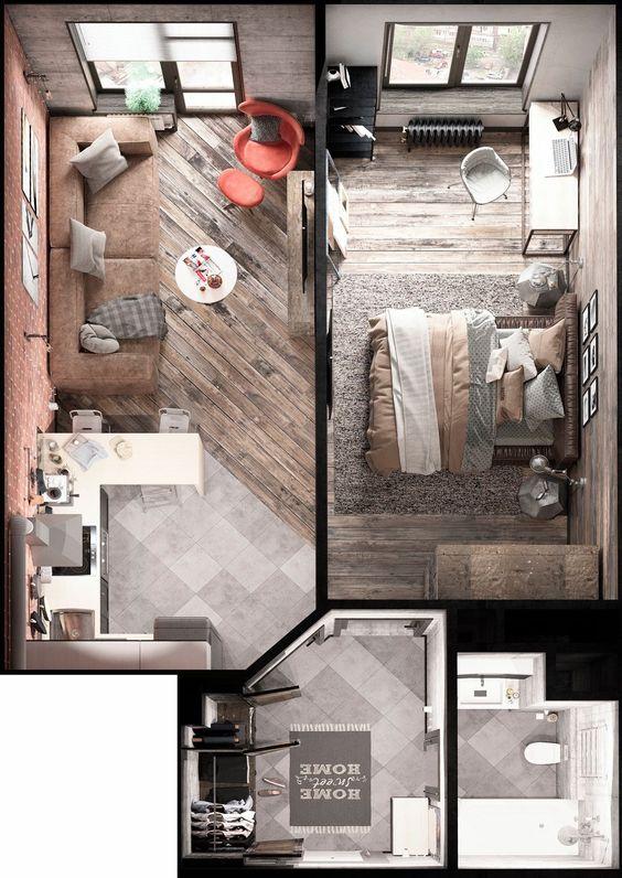 Plan amenajare aparatment doua camere cu living cu bucatarie openspace si dormitor