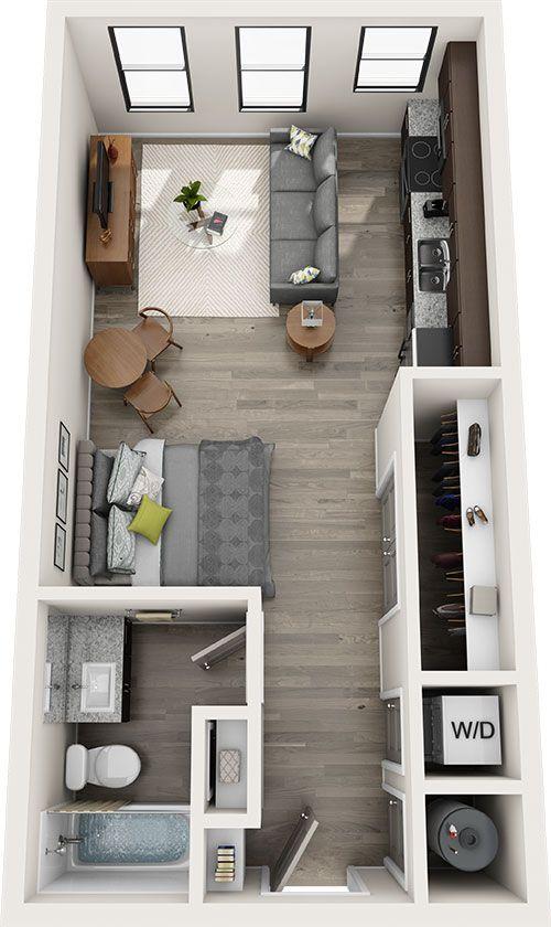 Plan amenajare studio in nuante de gri cu mobilier din lemn de culoare naturala inchisa