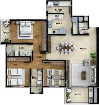 Plan casa parter cu bucatarie inchisa mobilata in U si trei dormitoare