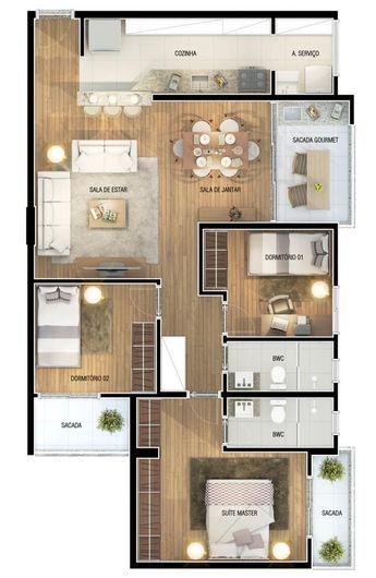 Plan casa parter cu living cu bucatarie openspace  trei dormitoare curte interioara si spatiu de parcare pentru doua amsini