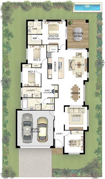 Plan casa parter cu living cu bucatarie openspace cu loc de luat masa pe terasa trei dormitoare si garaj pentru doua masini