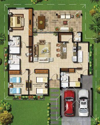 Plan casa parter cu living cu bucatarie openspace cu terasa acoperita trei dormitoare si garaj pentru doua masini