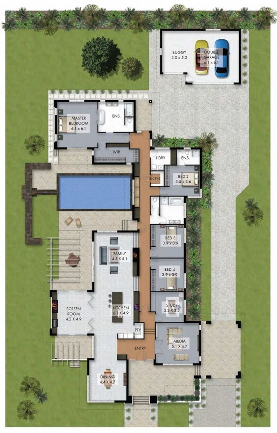 Plan casa parter cu piscina  cu living cu bucatarie openspace  patru dormitoare si garaj pentru doua masini amenajat separat