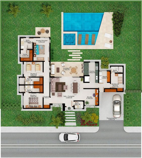Plan casa parter in forma de L cu psicina si terasa cu deck living cu bucatarie openspace si trei dormitoare