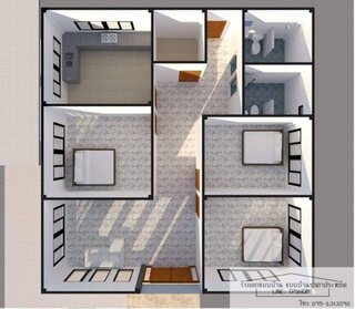 Proiect 3 plan de casa simpla cu 3 dormitoare