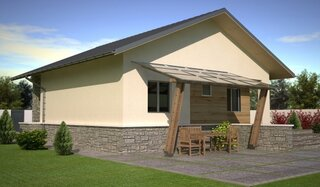 Casa din lemn parter cu pergola lipta de casa