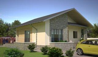 Casa din lemn placata cu piatra la exterior