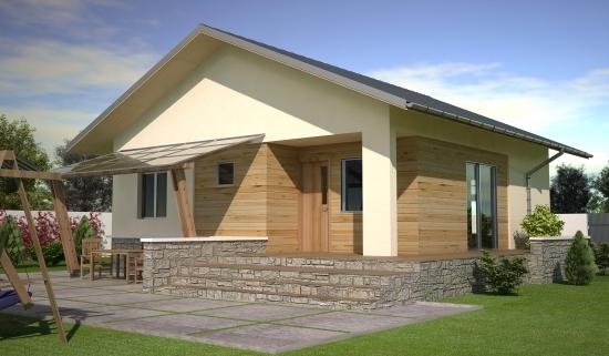 Model de casa din lemn cu soclu de piatra