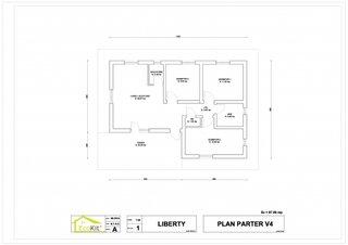 Plan parter casa cu 3 dormitoare  suprafata utila 69 mp - proiect 3