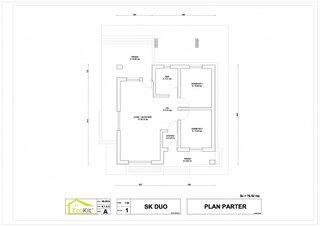 Plan parter casa din lemn suprafata utila 61 mp