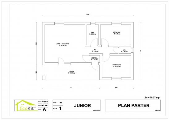 Plan parter casa suprafata utila 53,48 mp - proiect 2