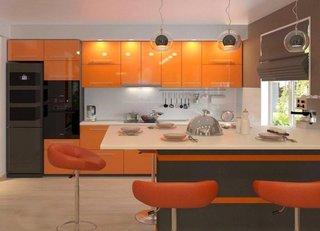 Mobila de bucatarie portocalie cu maro inchis