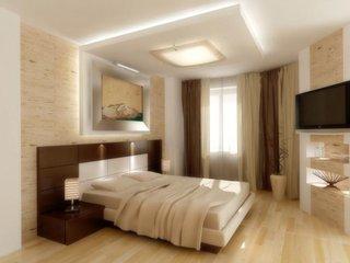 Dormitor amenajat cu lila si alb si scafe lila cuDormitor cu scafa luminata pe tavan si etajere real