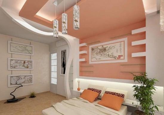 Dormitor cu scafa din rigips si banda cu lumini led