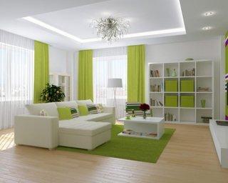 Living alb cu verde mar design minimalist cu tavan luminat