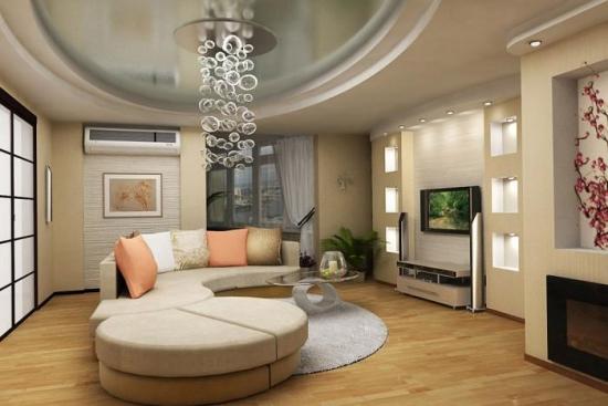 Living mare cu tavan din rigips pe trei nivele si nise din for Boomstam decoratie