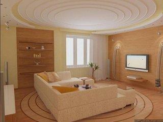 Living minimalist cu tavan din rigips model circular