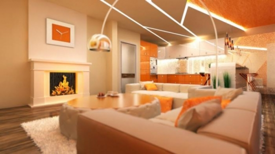 Model din gips carton realizat pe tavanul bucatrie si livingului open space