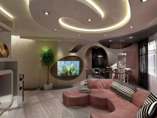 Model spirala de tavan din rigips pentru living