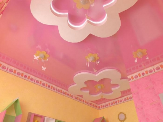 Scafe in forma de floricele pe tavan model pentru camera de fetita