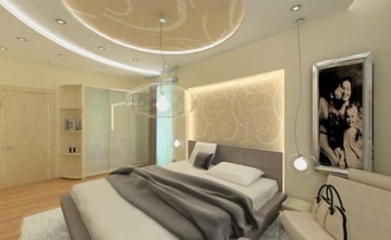 Tavan din gips carton cu leduri pentru dormitor