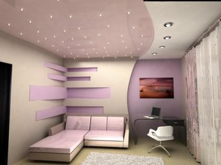 Tavan din rigips combinat cu mdf lucios luminat cu leduri