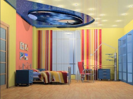 Tavan din rigips pe trei nivele pentru camera de baiat