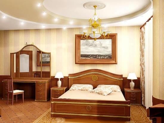 Tavan din rigips realizat pe trei nivele model de lux