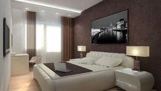Combinatie de alb si maro inchis pentru dormitor