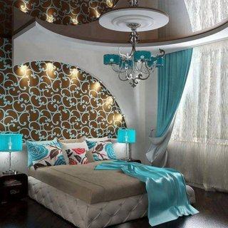 Turcoaz gri si maro decor modern dormitor