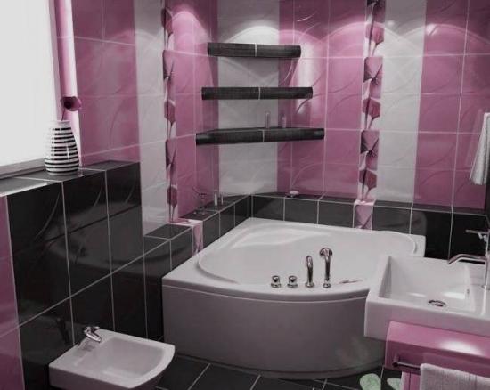 Combinatie de faianta negru cu mov pentru baie
