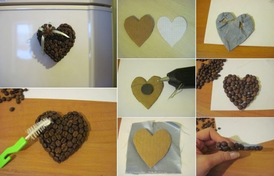 Etape realizare magnet  frigider din boabe de cafea