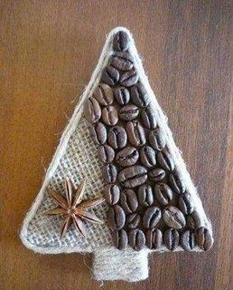 Ornament din panza de sac si cafea boabe